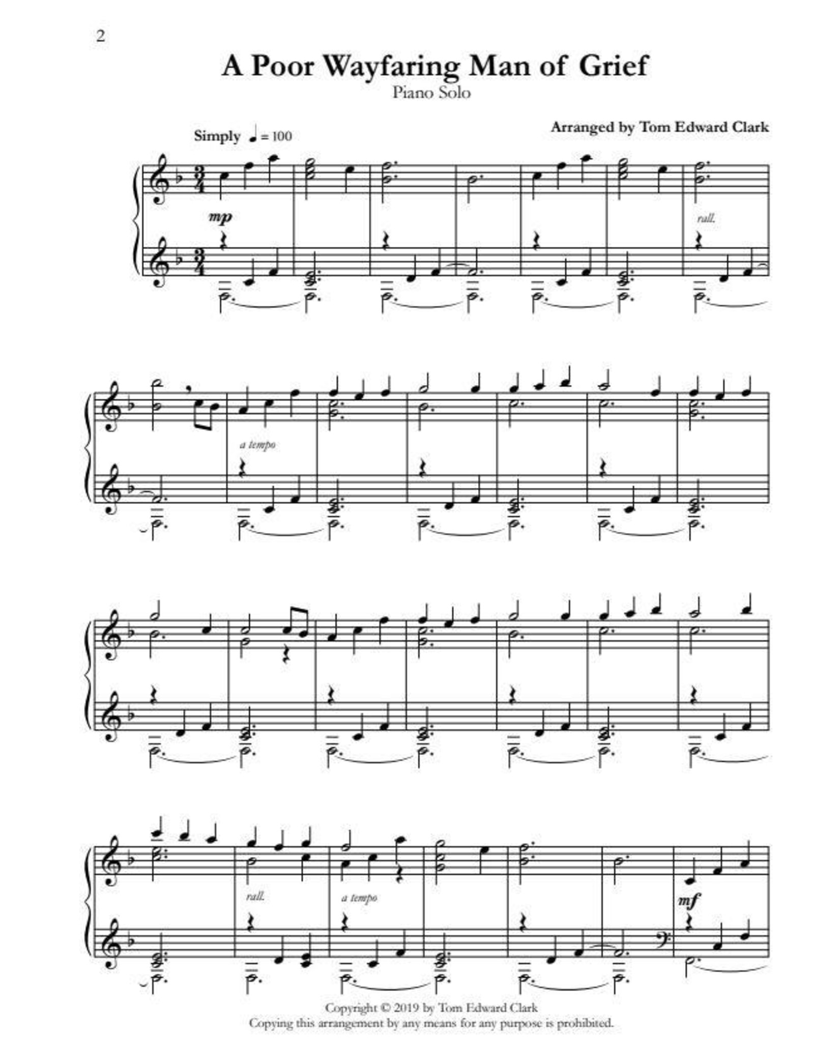 Tom Clark Music Peace - 12 LDS Piano Solos for the Intermediate Pianist by Tom Edward Clark