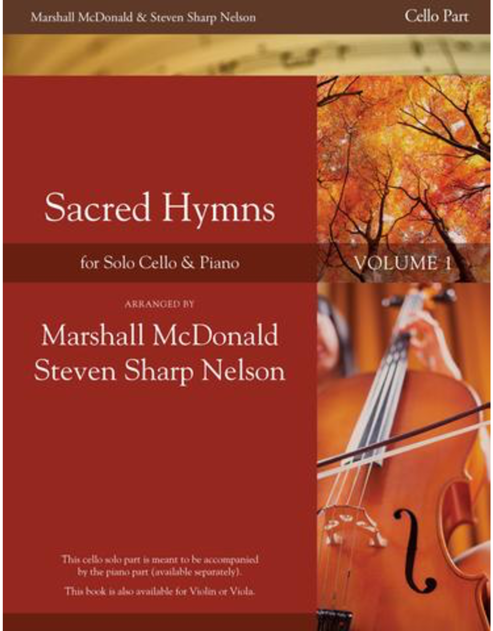 Marshall McDonald Music Sacred Hymns for Solo Instrument and Piano Vol. 1 Cello Solo Part arr by Marshall McDonald
