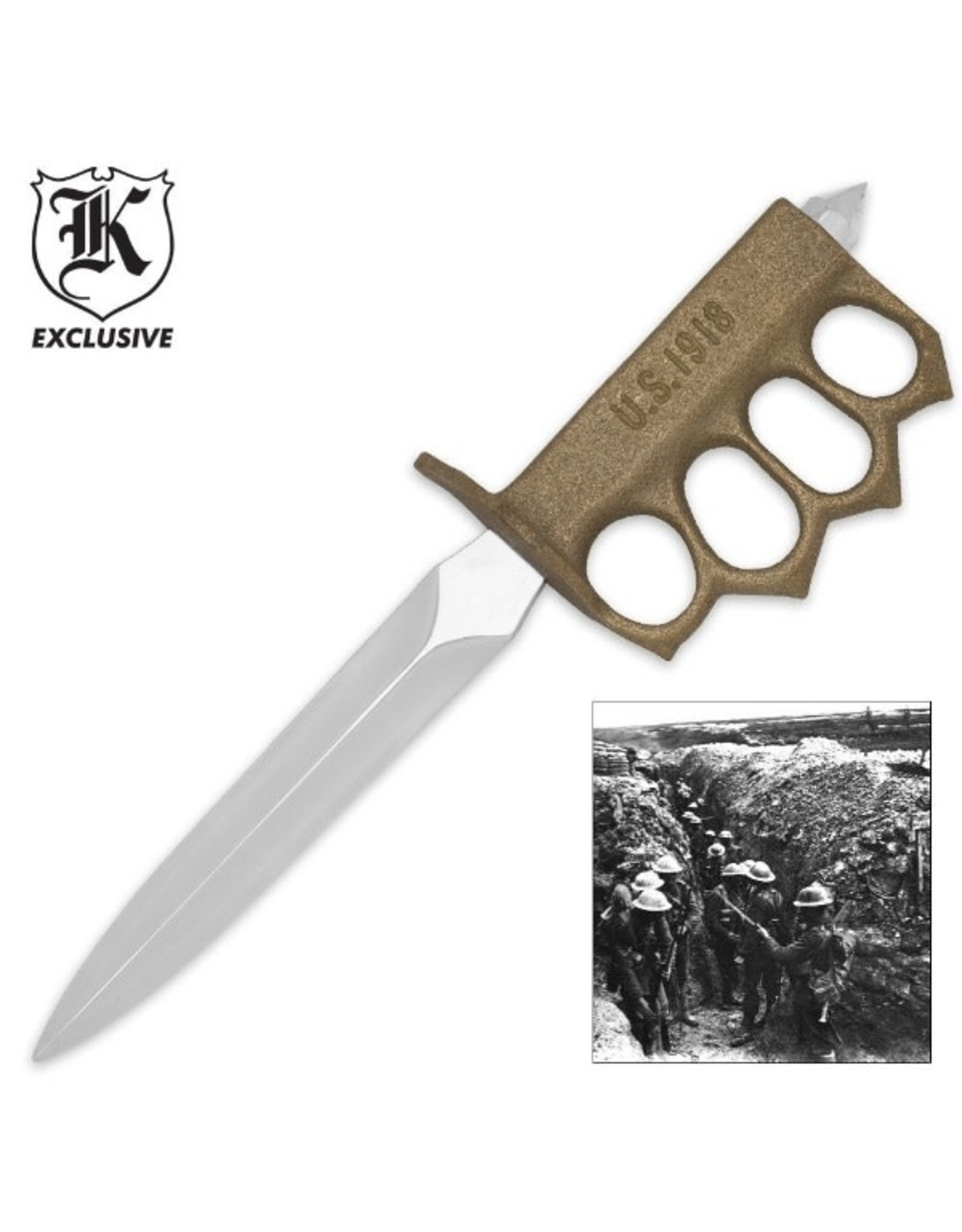 WWI 1918 Trench Knife with Sheath - Replica