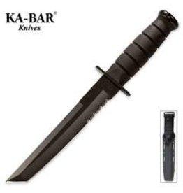 KA-BAR Tanto Black Serrated Knife with Sheath