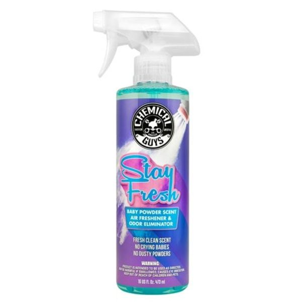 Chemical Guys Canada AIR23416 - Stay Fresh Baby Powder Scented Premium Air Freshener and Odor Eliminator (16 oz)
