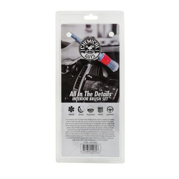 Chemical Guys Canada ACC600 - All in The Details Interior Detailing Brushes (3 Brushes)