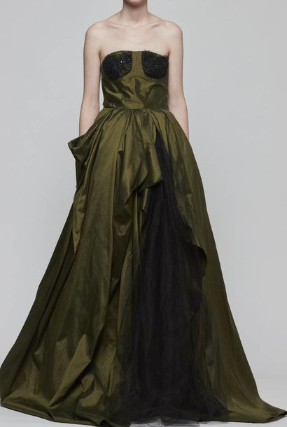 Strapless Silk Taffeta Evening Gown