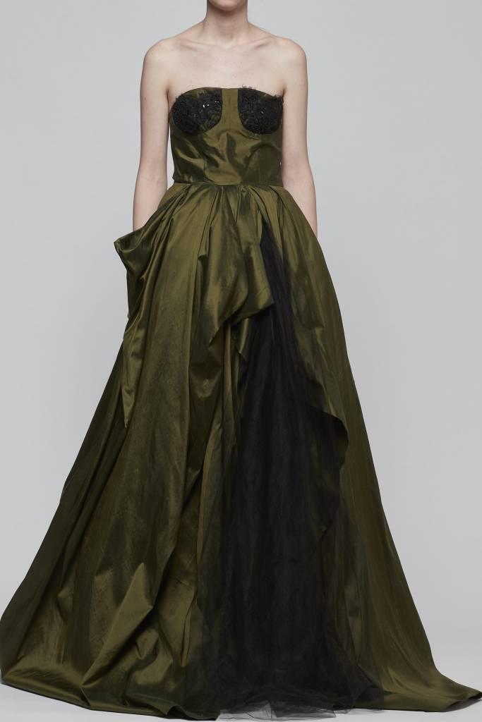 Strapless Silk Taffeta Evening Gown-1