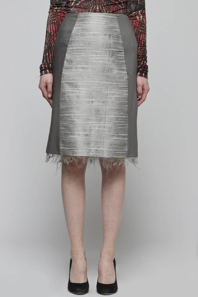 Straight Shantung Skirt-1