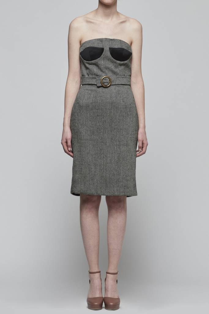 Faux Belt Strapless Dress-1
