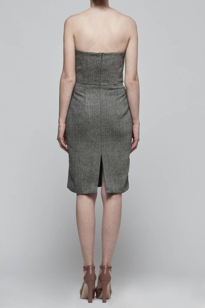 Faux Belt Strapless Dress-2