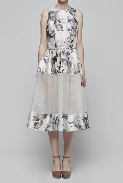 Sheer Paneled Floral Dress