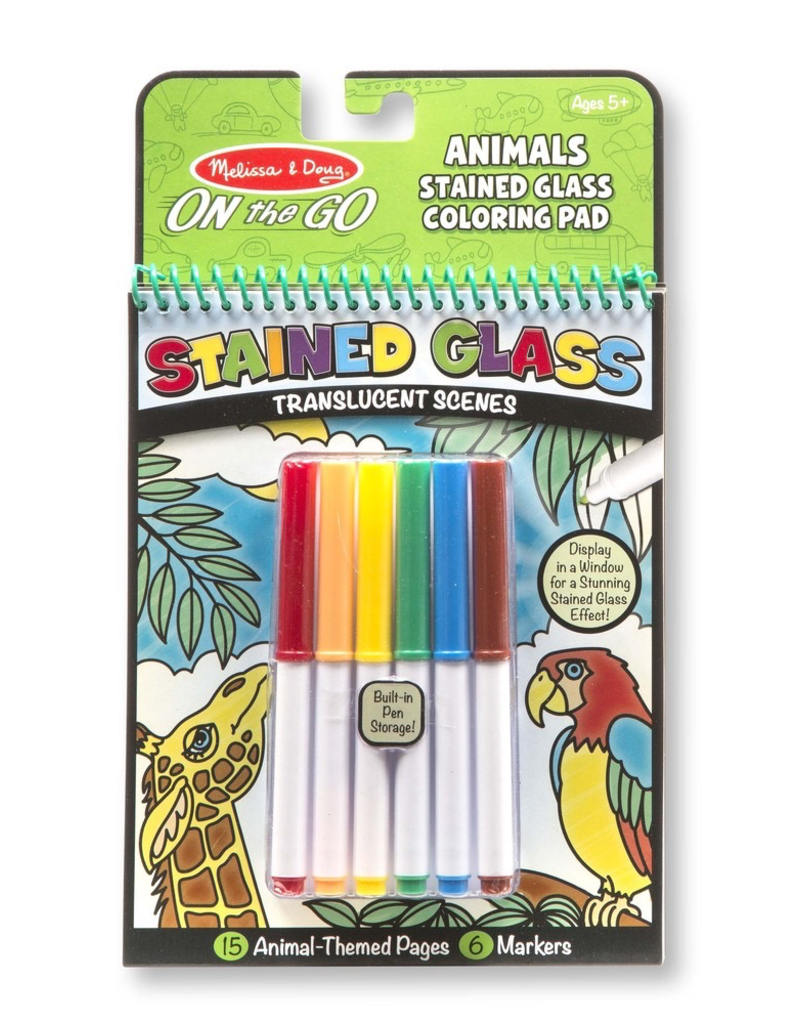 Melissa Doug On The Go Animals Stained Glass Coloring Pad
