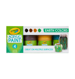 Crayola EARTH COLOURS ACRYLIC PAINT JARS 4CT 126ML