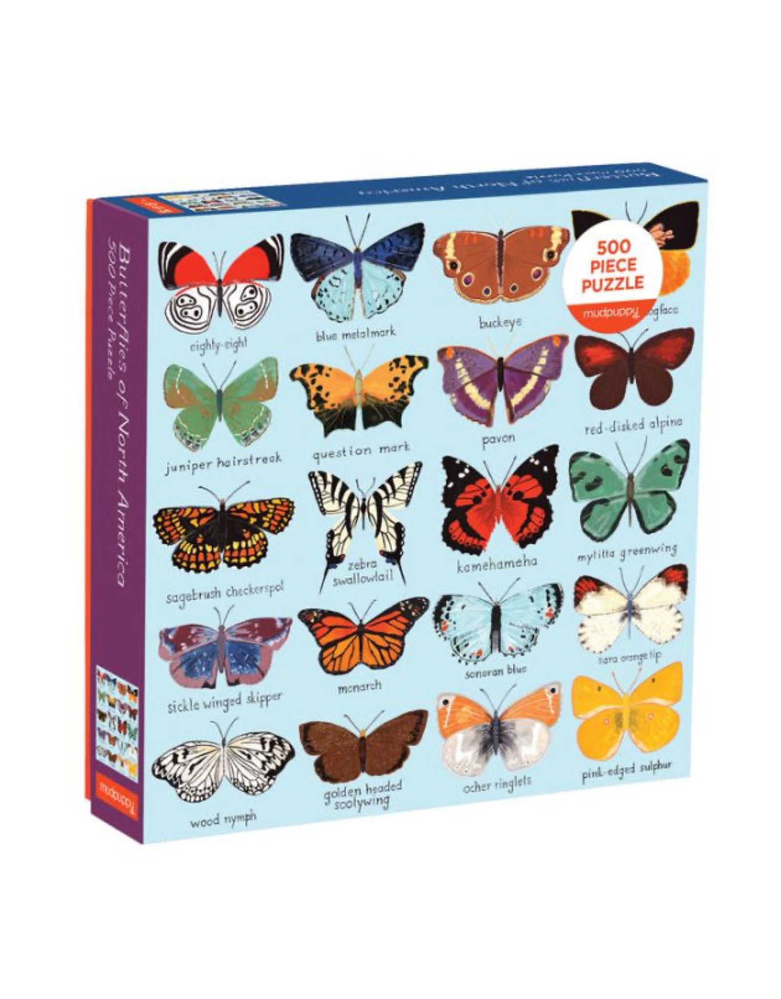 Mudpuppy Butterflies of North America 500 Piece Family Puzzle