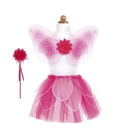 Great Pretenders FANCY FLUTTER SKIRT WITH WINGS & WAND, PINK, SIZE 4-7