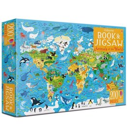 Usborne BOOK & JIGSAW ANIMALS OF THE WORLD 200 PIECES