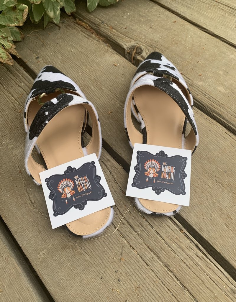 The Wandering WAgon Cow print mules with silver ring detail   Bella 3