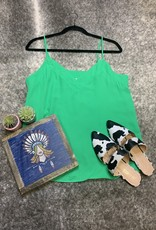 The Wandering WAgon Grass green contrast band cami  MT112285A