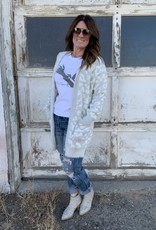 The Wandering WAgon Light grey and white leopard print hooded cardigan  11964