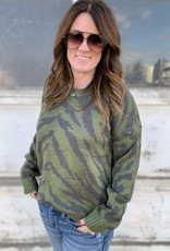 The Wandering WAgon Olive and charcoal animal print mix sweater  8359F