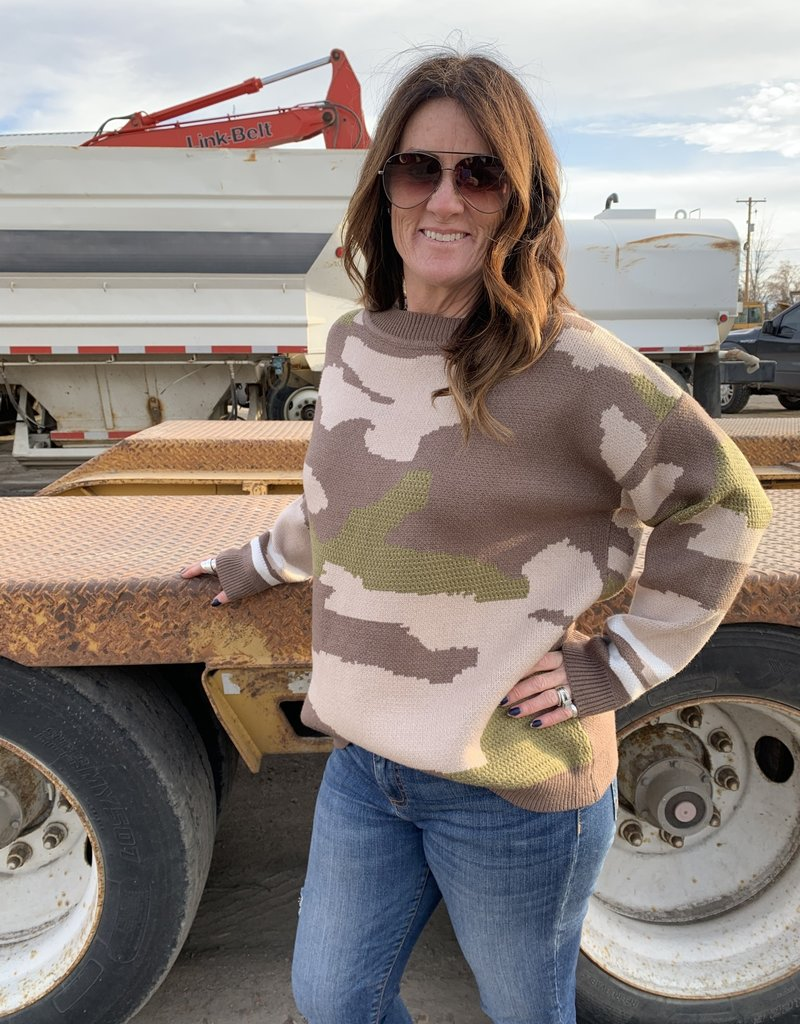 The Wandering WAgon Camo sweater top with stripe detail  ATW13213