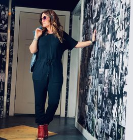 The Wandering WAgon Knit pocketed jumpsuit with drawstring waist detail  BJ3230