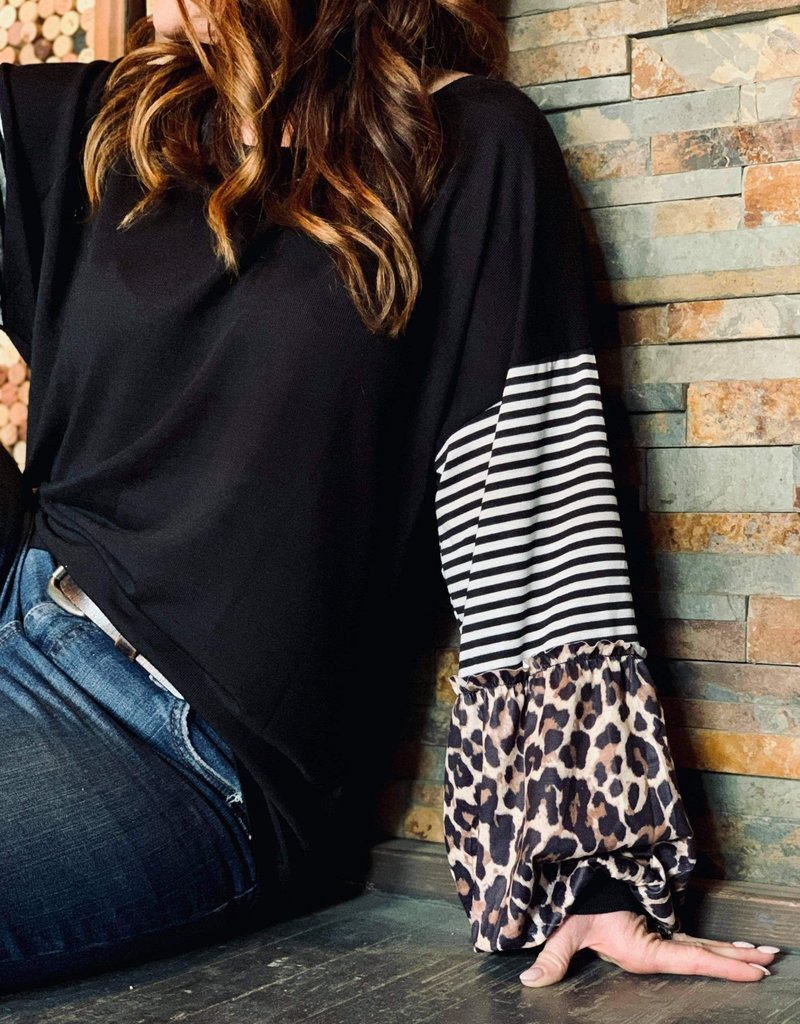 The Wandering WAgon Black top with leopard and stripe sleeve detail  Pink18