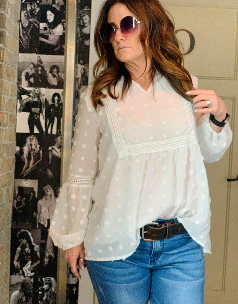 The Wandering WAgon Lace hollow top  Pink04