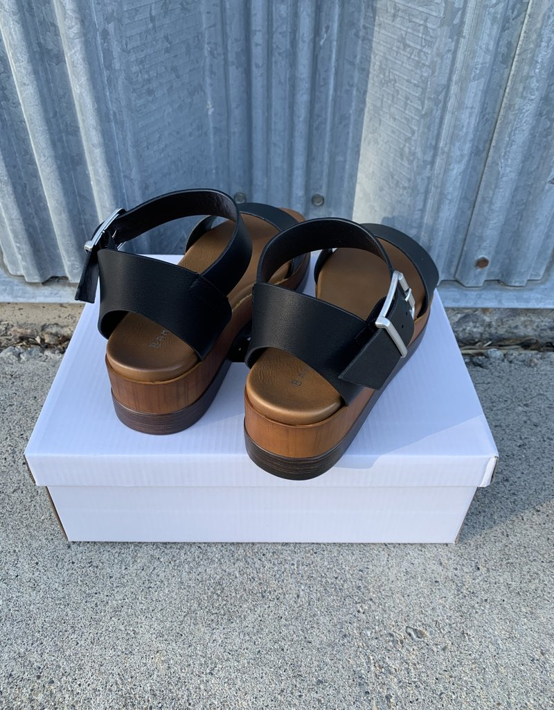 The Wandering WAgon Shift wedge sandal with side buckle detail