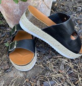Wandering Wagon Iconic black double buckle sandal