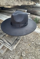 Wandering Wagon Black wide brim hat with ribbon