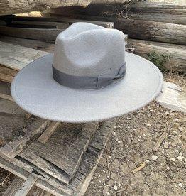 Wandering Wagon Grey wide brim hat with ribbon