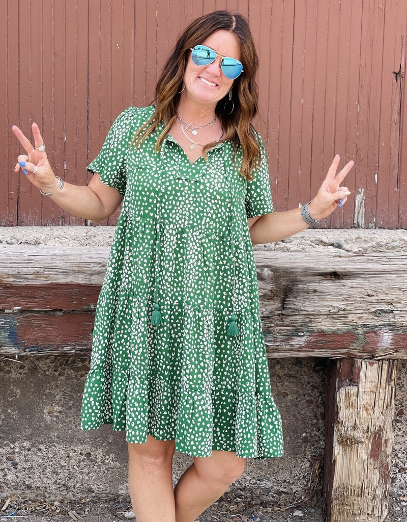 Wandering Wagon Kelly green printed tiered dress with side pockets  TC1846