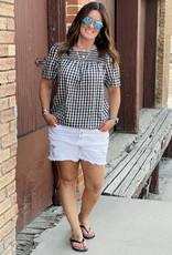 Wandering Wagon Black and white gingham check short sleeve top  MO9015