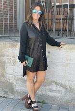 Wandering Wagon Black button down sequin shirt dress