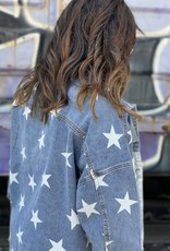 Wandering Wagon Star and snake print denim jacket  J70147