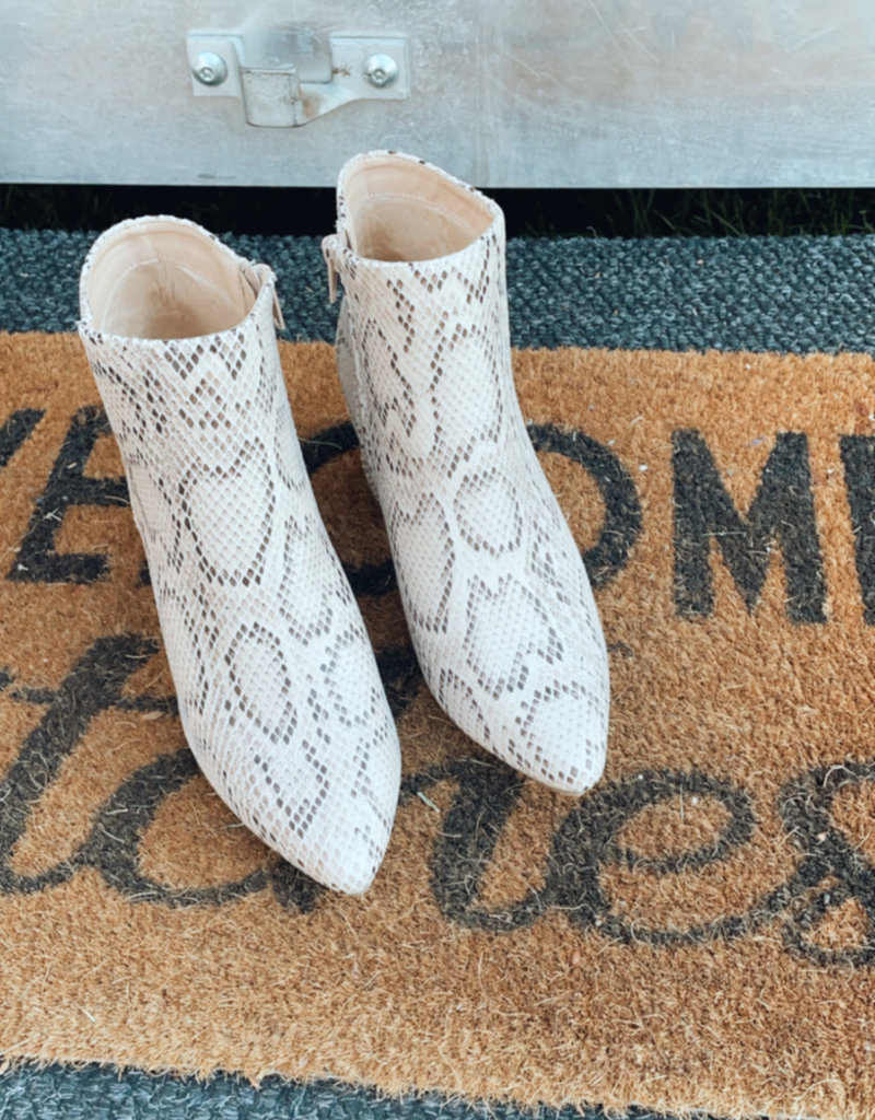 Wandering Wagon Nessa beige snake skin booties
