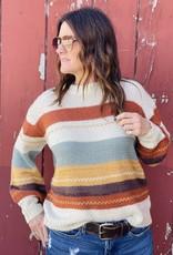 Wandering Wagon Cream and rust stripe sweater  62563
