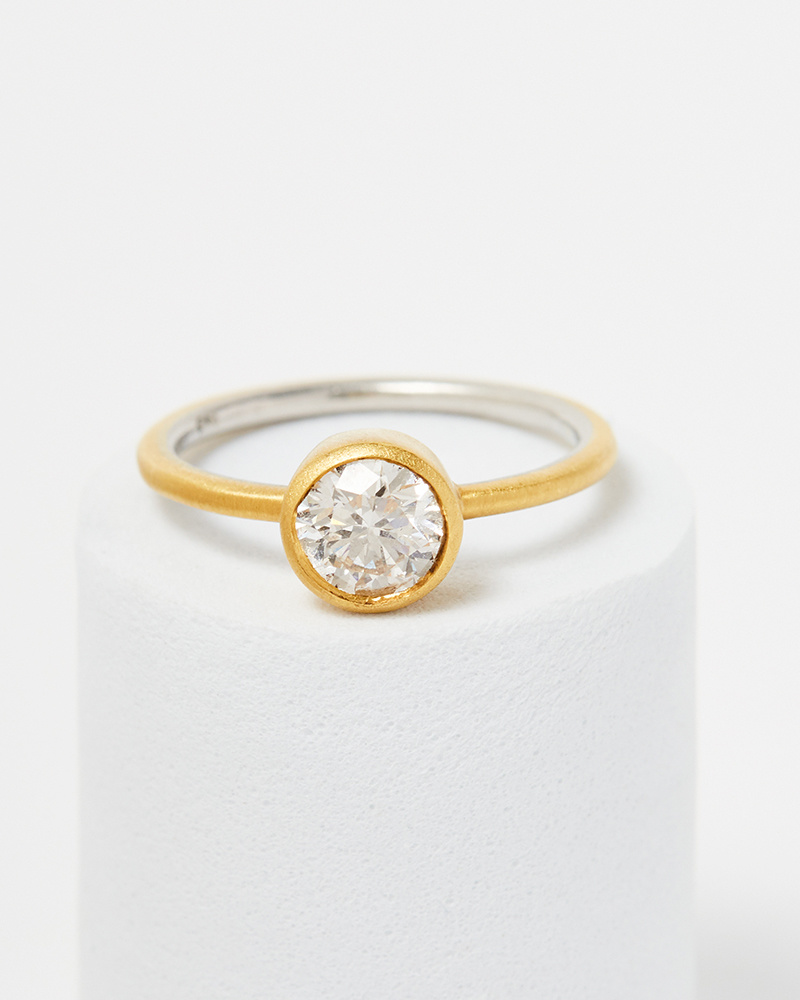 Nvit Blanche Old Euro Cut Solitaire Diamond Ring