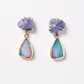 Melissa Joy Manning Tanzanite + Opal Drop Earrings