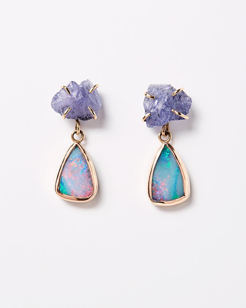 Melissa Joy Manning Tanzanite + Opal Drop Earrings