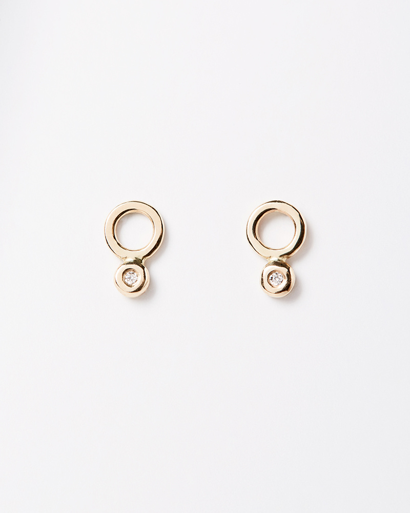 Melissa Joy Manning Circle + Diamond Studs