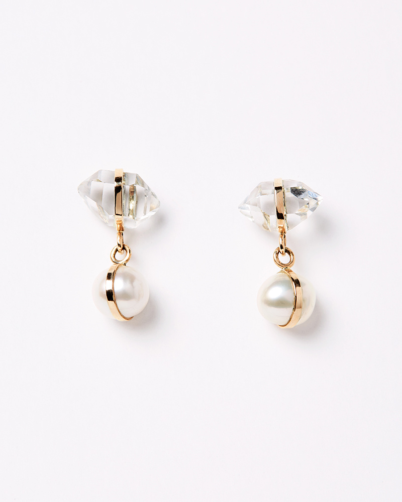 Melissa Joy Manning Herkimer + Pearl Drop Earrings