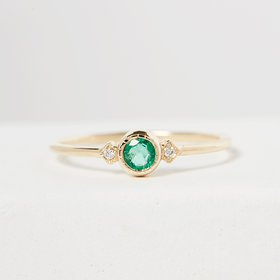 Jennie Kwon Emerald Sotto Voce Ring