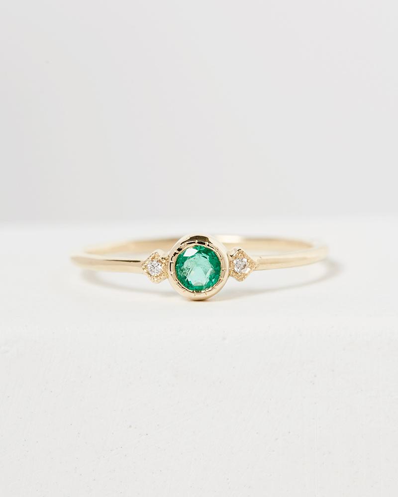 Jennie Kwon Emerald Sotto Voce Ring