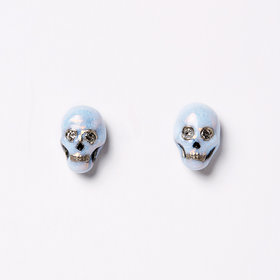 Nvit Blanche Blue Enamel Skull Earrings