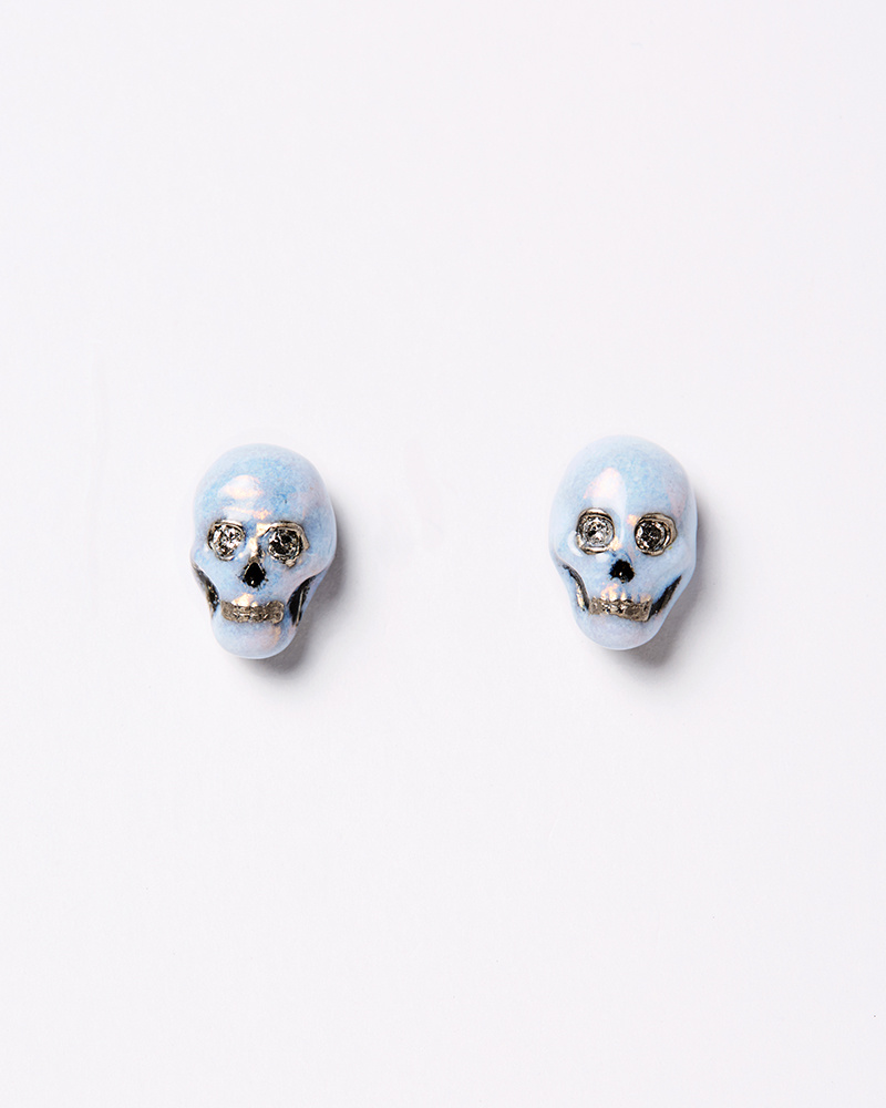 Nvit Blanche Blue Enamel Skull Earrings