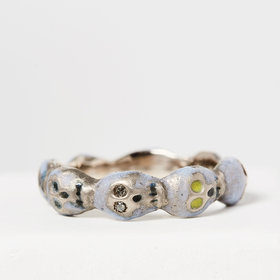 Nvit Blanche Skull Eternity Band: Blue Enamel