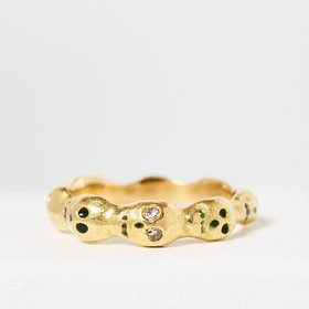 Nvit Blanche Skull Eternity Band: 22K Yellow Gold