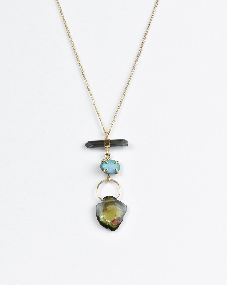 Melissa Joy Manning Opal and Tourmaline Drop Necklace