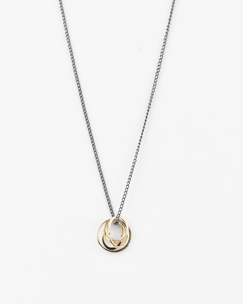 Melissa Joy Manning Mixed Metal Oval Charm Necklace