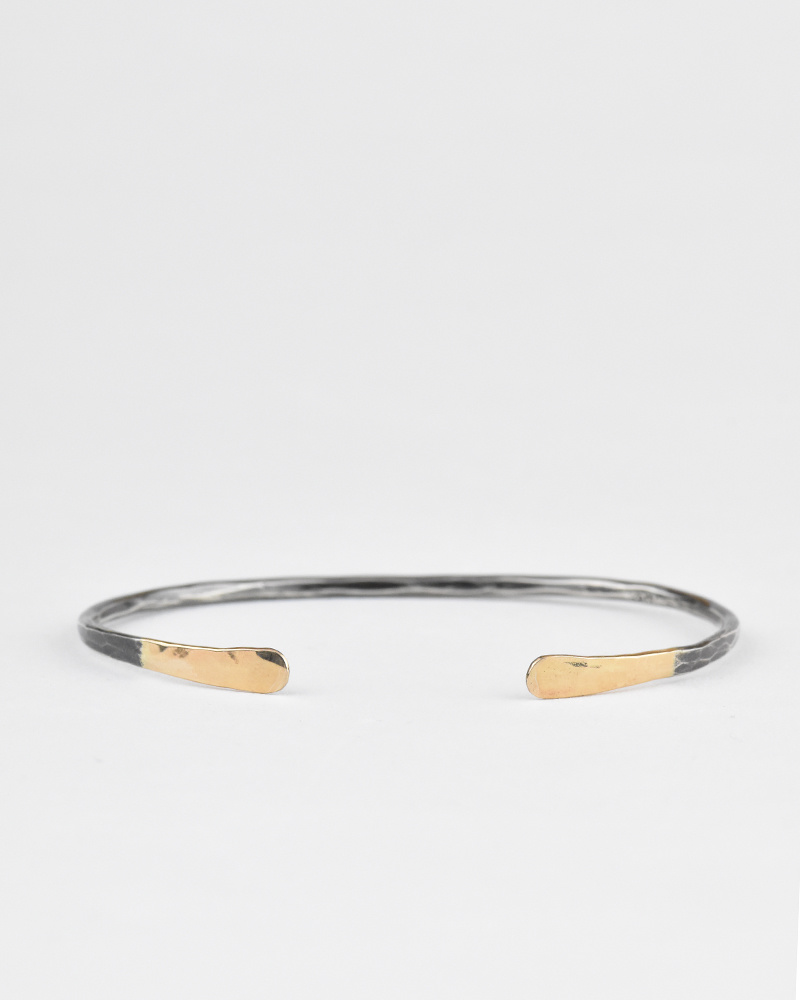 Melissa Joy Manning Silver Cuff with Gold Tips