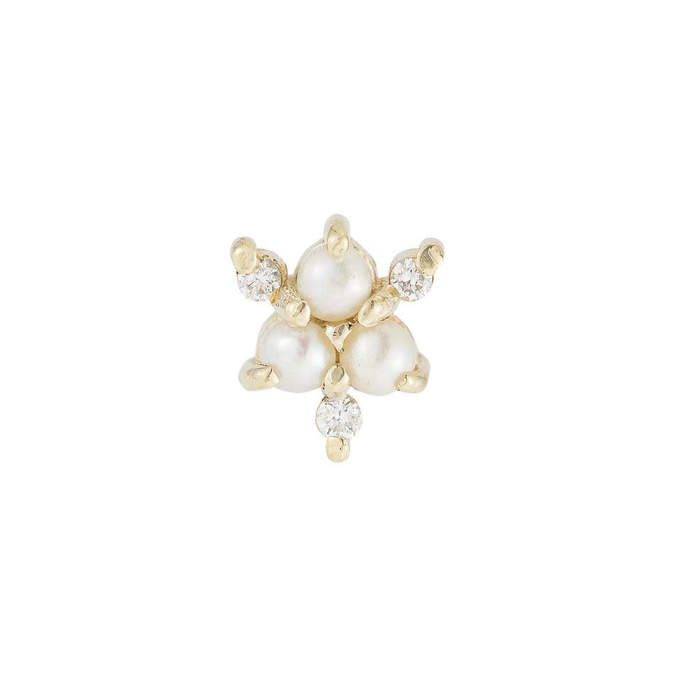 Jennie Kwon Pearl Diamond Snowflake Stud